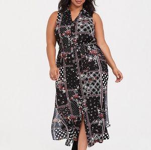 Torrid PATCHWORK CHALLIS MAXI SHIRT DRESS